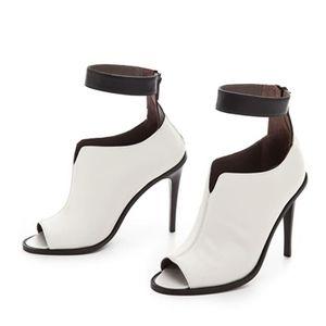 Tibi ankle strap peep tie nude black stiletto heel